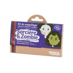 Kit 3  de maquillage couleurs Sorcière & Zombie - Namaki