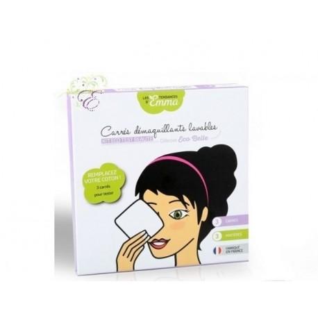 Kit de 3 carrés démaquillants lavables biface coton bio Les Tendances d'Emma