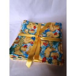 Kit de 6 carrés bébé lavables biface coton et éponge